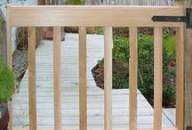 Custom Deck Gates in Cedar / Design your deck gate at www.deck-gates.com and order it on the spot. Made of select grade cedar. You pick the size & slat spacing. Insect-resistant. Ships in 10 days. Installs with strap hinges. By Gates2U in Maryland.