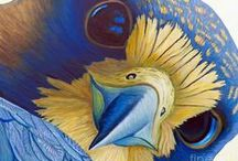 Bird-orable Art / Hark! what a melody toned in his ear! What rich, golden laughter, so merry and clear That bluebird and oriole wakened, and sang A duo to answer the copse whence it rang! It rose like a fountain that bursts through the snow; It fell like the waterfall bubbling below. 'Twas thrushes and bobolinks greeting the sun That shines through the raindrops when showers are done...Arthur Guiterman / by Raven Wood