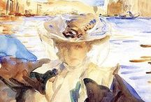 SARGENT, John Singer / At the beginning of the 20th C. Sargent reached his mid-40s and underwent a midlife career crisis. Long regarded as the best society portrait painter of the Gilded Age. In around 1900, he threw away his oils and turned to watercolors. He brilliantly captured landscapes, gardens, exotic locales, and people, many from his travels in Europe and Middle East. With unusual compositions and new techniques, he successfully reinvented himself aesthetically. (Judith Dobrzynski, NY Times) / by Raven Wood