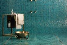 Architecture: blue mosaic bathroom