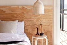 Plywood in Bedroom / Interior design and inspiration for plywood headboard and bedroom detailing.