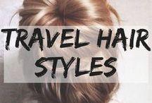 Travel Hair Styles / Style your hair on the go. travel hair styles | beach waves hair | messy hair bun | holiday hair | brides | short hair | long hair | blonde hair | brunette hair | ombre | highlights