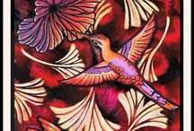 Designs by Ryn - DT Art / These pieces include Designs by Ryn stamps and/or stencils in combination with products from other brands. They were made by the talented mixed media artists that make up my Design Team: Alie Hoogenboezem-de Vries, Anja Hardenfels, Eileen Godwin, Karin van den Broek, Kellie Colegrove, Miranda Degenaars, Shirley Deatcher, Wendy McCarthy. If you click on the photo it will take you to their blog post for more info.