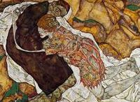 Egon Schiele 1890 - 1918 / Egon Schiele  ( 12 June 1890 – 31 October 1918) was an Austrian painter. A protégé of Gustav Klimt, Schiele was a major figurative painter of the early 20th century. His work is noted for its intensity and its raw sexuality, and the many self-portraits the artist produced, including naked self-portraits. The twisted body shapes and the expressive line that characterize Schiele's paintings and drawings mark the artist as an early exponent of Expressionism.