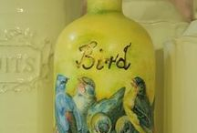 Decoupage on a bottle / Simple bottles became special with decoupage