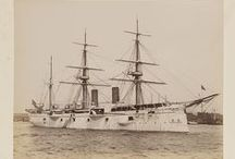 """Columbian Naval Parade / Album of views of the Columbian Naval Parade, New York, April 27th, 1893, including several U.S. Naval ships and some from Great Britain, Russia, France, Italy, Argentina, Holland, Germany, Spain, Brazil, Australia. Also a view of """"'Race of Men of War Boats,' May 6th 1893. (Won by Australia.)"""" Views of ships, replicas of the Nina, Pinta and Santa Maria. Event probably orchestrated in conjunction with the World's Columbian Exposition, Chicago, 1893."""