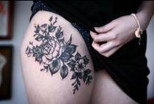 Tatts / Artistic - Tattoo - Flowers - Birds - Black
