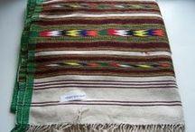 Handloomed cotton blanket - Black, Brown, White / Handmade cotton blanket