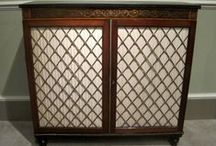 Cupbaords & Cabinets / The antique side cabinet and antique corner cupboard furniture we supply includes pier oak china wall cabinet, antique hanging wall cupboard, pot mahogany cupboard, pedestal Georgian cabinet, Regency Rosewood Chiffonier, antique wardrobes, etc.