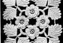 Crochet - Irish / Irish Crochet is a form of lace from 19th-c. Traditionally in cotton thread, sometimes silk or linen. First individual motifs are made : mostly flowers, leaves (incl. shamrocks): crochet stitches are made round a thicker cord to make it 3-D. Then those motifs are arranged on a paper or fabric pattern (for a collar, cuffs, or ...), and joined together in a freeform style. Each motif is connected on a mesh background made of chain stitches and picots.
