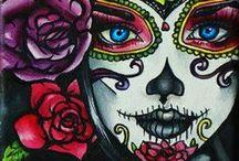 Día de los Muertos / Diá de los Muertos - Der Tag der Toten - Traditionelle mexikanische Totenkopfmalereien