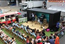 Pop-up Acoustic Stage / Shipping Container Conversions made by ISO Spaces for Box Park. A container which converts hydraulically into an acoustic sound stage