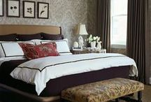 Bedroom / Ideas for a light, airy, large Edwardian terrace bedroom, with grey, blue, creams and feature wallpaper