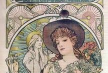 """Alphonse  Mucha / Pioneering Czechoslovakian artist Alphonse Mucha (1860 – 1939) created a sumptuous Art Nouveau style filled with soft colors, curving lines and ethereal women. Mucha was inspired to paint by the artwork he saw in churches. A starving artist in Paris, Mucha skyrocketed to fame after he created a life size poster for Sarah Bernhardt's play, """"Gismonda."""" ~P.S. The latest news is.... no repin limits on any of my boards =) / by Babs Keller"""