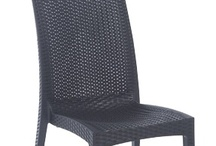 Sarah / The Sarah chair is made of a solid polypropylene shell that looks and feels like wicker. It is weather resistant and uv resistant. No more wicker breaking and metal fatigues. Washable and recyclable. Very affordable and available as matching side chair or armchair and all are stackable. Perfect for terrace, courts, cafes, outdoor restaurants.