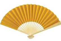 """Hand Fans - Solid Color Paper / Our fans will keep you cool in hot weather and are popular for decorating all year round. They make great party decorations. Hang them among our parasols and lanterns for a very festive look. Bamboo frame. 9"""" long when closed."""