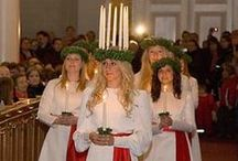 Holiday * ☆ * LUCIA / Crown of Candles * White Dresses & Red Sash  | Lussekatt * Bun with Saffron * Dec 13th / by Evelyn Moser