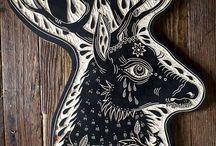 Linocut and stamps / #linocut #lino #stamp #art #illustration #graphic #linoleum #block #crafts #handmade #wood #printmaking #lithographs