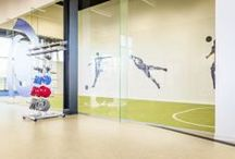 Sports Facilities / Forbo Flooring Systems offers a flooring solution for each area of a sports centre, from sports hall and fitness area to changing room and canteen. All our floors are highly functional and manufactured for top performance. And they're easy to maintain, regardless of the application.