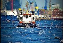 """Hamburger Hafen / Das Herzstück von Hamburg ist sicherlich der Hamburger Hafen, der auch gern als """"Tor zur Welt"""" bezeichnet wird. Der Hafen ist in jedem Fall sehenswert! Sich irgendwo mit Blick auf das Wasser hinsetzen, den riesigen Schiffen zusehen wie sie elbaufwärts oder abwärts fahren und die Seele baumeln lassen! Wer jemals einen Sonnenuntergang auf der Elbe erlebt hat, ist vom Hafen und der Stadt verzaubert und wird immer wiederkommen wollen!"""