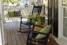 Front Porch Tips & Designs / I'm from the South where we love sitting on the front porch drinking sweet tea!  Here are our favorite tips and designs to help you with creating your own front porch relaxation on a budget!