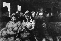 Daumier, Honore / The Third-Class Carriage is an oil on canvas painting by Honoré Daumier, in the collection of the Metropolitan Museum of Art. A similar painting by Daumier with the same title is in the National Gallery of Canada. Daumier had drawn and painted images of rail travel since the 1840s. This version of The Third-Class Carriage appears to be closely related to an 1864 watercolor now in the Walters Art Museum. The painting is unfinished, and is squared for transfer. From Wikipedia, the free
