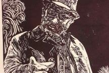 Theohalara / Lino cuts, Χαρακτική, Woodcut, Lino print