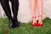 Red wedding shoes / Be daring and put your best foot forward with stunning red hoes on your wedding day!