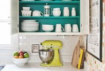 Kitchens / A love a colorful kitchen full of life and people. Nothing too big. My style is more small and intimate. These would be some of my favorites.