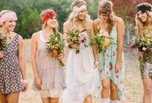floral brides and bridesmaids / Glamorous contemporary florals for weddings