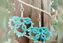 """Lankapuu's tatted earrings from Finland / 'Lankapuu' means literally """"thread tree"""" and the tree grows happy branches of tatted and crocheted quality gifts! Buying from Lankapuu, you support Christian mission work in Eastern Africa: 10 percent of all the sales is forwarded to eligible destination/-s through the artist.  Sales and sides at  http://www.facebook.com/Lankapuu http://www.etsy.com/shop/Lankapuu http://www.taitomaa.fi/shop/Lankapuu"""