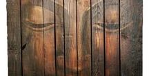 Wooden Buddha / painted buddha on wood , buddha face on rustic wood, buddha art