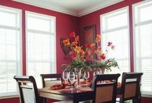 Our Best Red Paint Color Tips / Red evokes love, passion, & fire; therefore, it is a powerful color choice. Red paint looks wonderful with neutrals such as warm greys, beiges & whites. Lighting affects red quite a bit, so try taking a sample of your color home to see what it looks like in your lighting before committing. Discover how to find the perfect red paint color to coordinate with your interior & décor pieces. Learn this & many more color tips from the new Our Best Interior Paint Colors Fan Deck, exclusively at Menards!