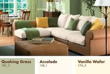 Our Best Green Paint Color Tips / Green paints can be vibrant & fun or muted & restful, working in any room. Pair blue-greens with light blues, sandy neutrals, & whites for a seaside feel. Combine deeper yellow-greens with brown & white for class & sophistication. Green cabinets & window frames make surprising accents. Discover how to find the perfect green paint color to coordinate with your interior & décor pieces. Learn this & many more color tips from the new Our Best Interior Paint Colors Fan Deck, exclusively at Menards!