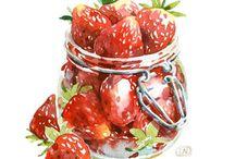 Food illustrations / Watercolor again :)