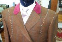 Chaqueta a cuadros género Ingles Scabal y velvet / Con detalles en velvet morado