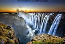 Waterfalls / A waterfall is a place where water flows over a vertical drop in the course of a stream or river. Waterfalls also occur where meltwater drops over the edge of a tabular iceberg or ice shelf.