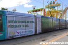 Publicidad en Tranvías / Trabajos realizados en el Tranvía de Tenerife, Islas Canarias, España.