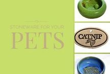 Pets / Everything from food bowls to leash holders. Our board is all stoneware pottery and handmade.