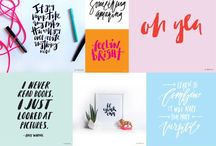 Hand lettering / Hand lettering & modern calligraphy using ink & watercolour.