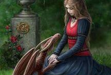 fantasy / Na tej tablicy znajdują się piny, które przedstawiają istoty baśniowe, fantasy(wróżki, elfy, jednorożce, syreny, itp.)