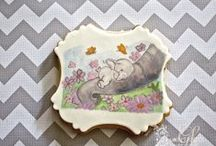 Baby elephant hand painted cookies / Baby elephant themed hand painted cookies