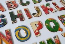 Nursery Decorations - Wooden Alphabets / New and old story Book inspired wooden toy, educational toy, Alphabet letters and name letters by Best Loved Stories and Old Toy Story