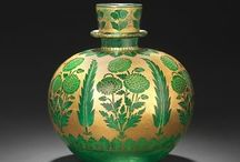 Indian & Mughal Glass / In India glass was seldom made until the 18th Century. From 1526-1858 during the Mughal Dynasty, most glass was imported from the Middle East & Europe then decorated by Indian craftsmen by cutting, gilding or painting with enamel (Corning Museum of Glass). Please also see Beautiful Rock Crystal