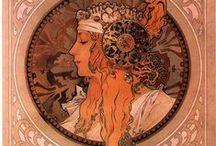 Mucha Alphonse / Alfons Maria Mucha, est un affichiste, un illustrateur, un graphiste, un peintre et un décorateur tchèque né à Ivančice (ville de Moravie qui faisait alors partie de l'Empire d'Autriche, aujourd'hui sise en République tchèque) le 24 juillet 1860 et mort à Prague le 14 juillet 1939, fer-de-lance du style Art nouveau.  / by Mélanie