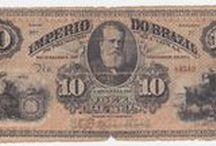 Cédulas e moedas antigas do Brasil e do mundo.