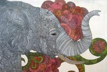 Elephant Art~ Painted Elephants / by Pamela Armas