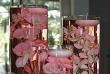 Floral centerpieces / Floral, candles, greenery, water, and crystal centerpiece ideas