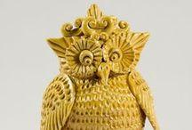 GUFI e CIVETTE / Gufi e civette in ceramica artigianale.  Modellati a mano in ogni particolare anatomico.