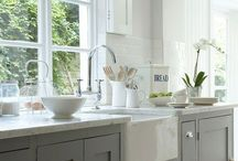 Grey & White Kitchens / My new kitchen will be grey and white. I think it's so calming, a place I will want to be in. / by Monika Brown